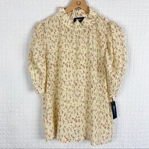 NWT Aliceblue Mock-neck Pleated Ditsy Print Top M